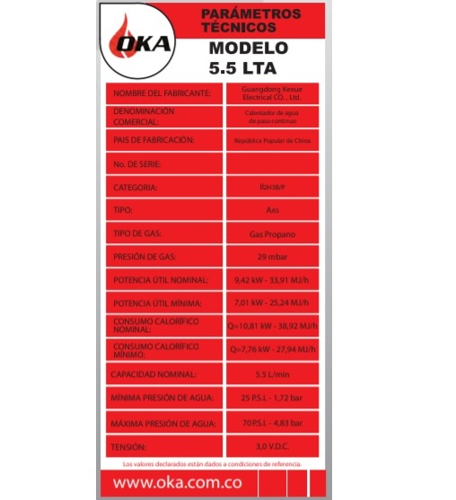 calentador Oka parámetros